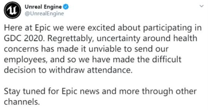 因疫情影响 Epic Games和微软将缺席GDC 2020