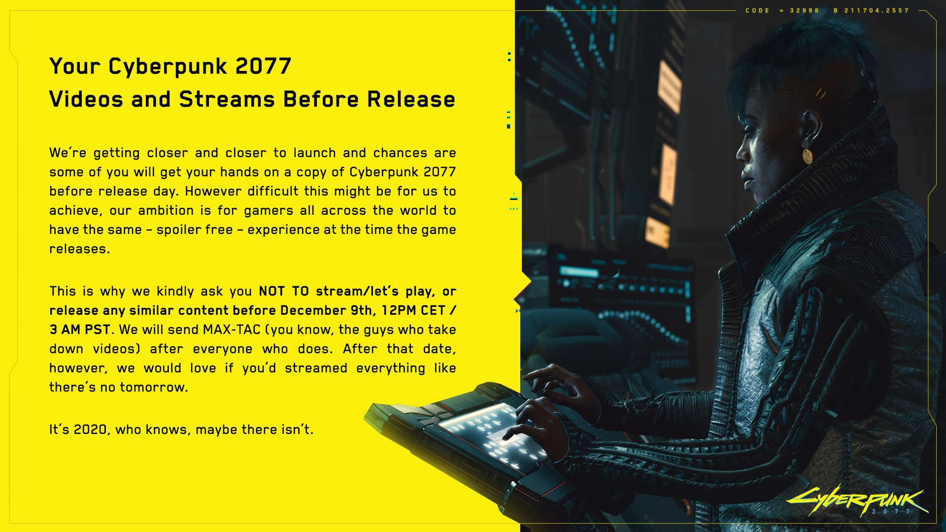 赛博朋克2077光盘偷跑 官方恳求玩家不要剧透